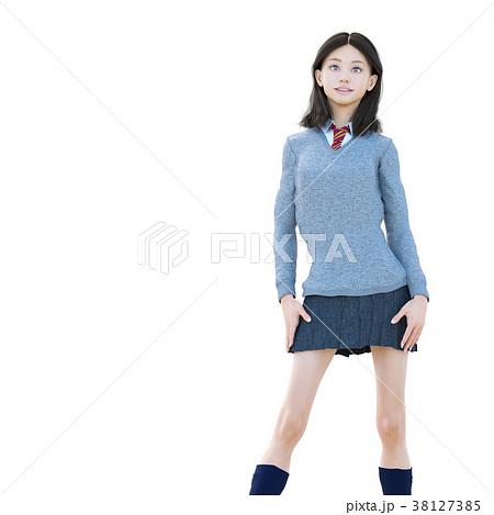 ポーズする制服の女子学生 perming 3DCG イラスト素材 38127385