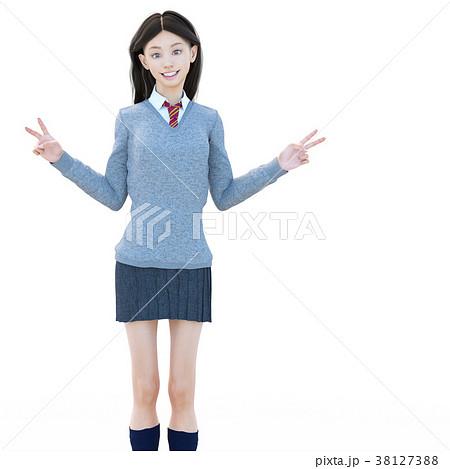 ポーズする制服の女子学生 perming 3DCG イラスト素材 38127388
