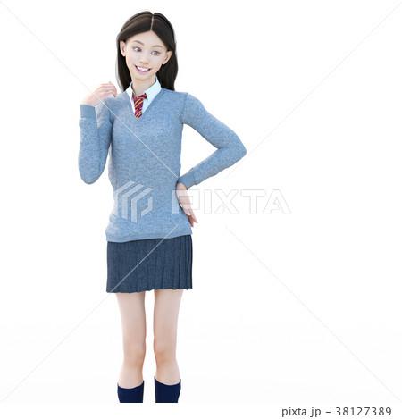 ポーズする制服の女子学生 perming 3DCG イラスト素材 38127389