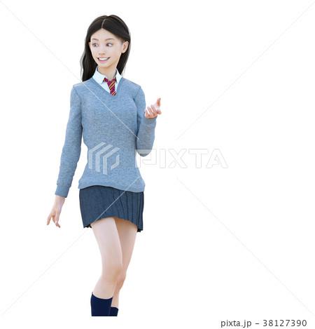 ポーズする制服の女子学生 perming 3DCG イラスト素材 38127390