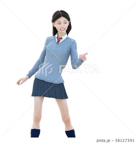 ポーズする制服の女子学生 perming 3DCG イラスト素材 38127391