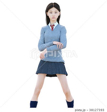ポーズする制服の女子学生 perming 3DCG イラスト素材 38127393