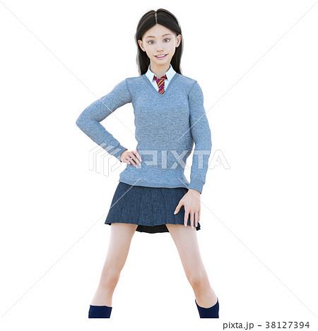 ポーズする制服の女子学生 perming 3DCG イラスト素材 38127394