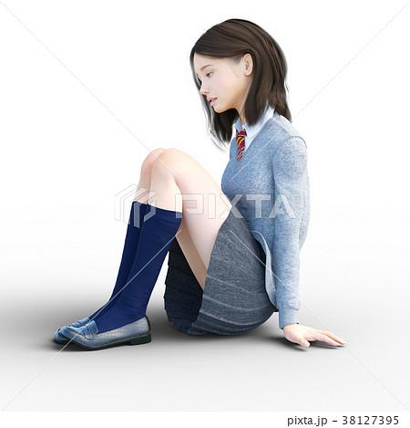 ショックで座り込む制服の女子学生 perming 3DCG イラスト素材 38127395