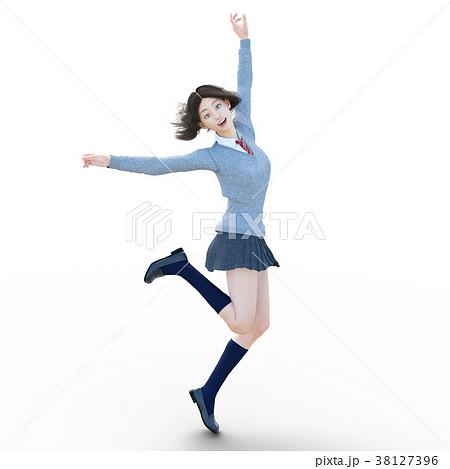 ポーズする制服の女子学生 perming 3DCG イラスト素材 38127396