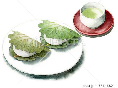 水彩で描いた柏餅とお茶 38146821