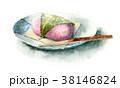 食べ物 和菓子 水彩のイラスト 38146824