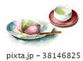 食べ物 和菓子 水彩のイラスト 38146825