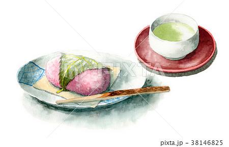 水彩で描いた道明寺桜餅とお茶 38146825