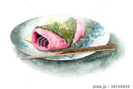 水彩で描いた桜餅 38146826