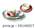 食べ物 和菓子 水彩のイラスト 38146827