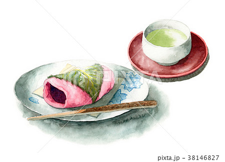 水彩で描いた桜餅とお茶 38146827