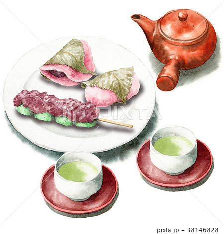 水彩で描いた桜餅と草だんごとお茶セット 38146828
