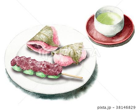 水彩で描いた桜餅と草だんごとお茶 38146829
