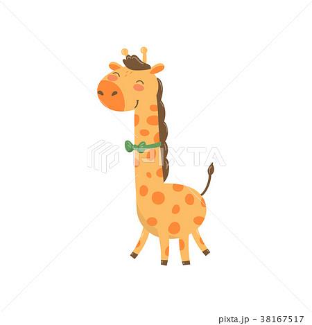 Cute giraffe character with green bow tie. Cartoon 38167517