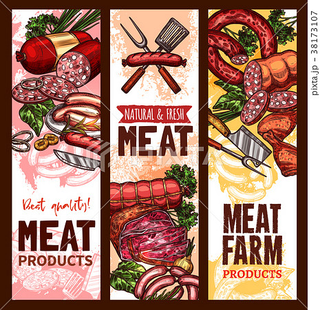 Vector sketch banners for meat farm products 38173107