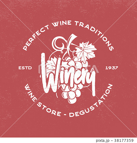 wine winery logo template drink alcoholicのイラスト素材 38177359