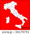 Map of Italy with red background. Vector 38179791