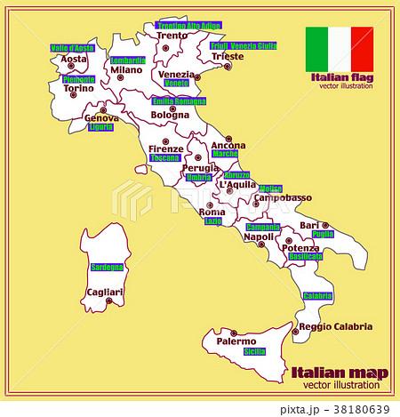 italy map with italian regions vector のイラスト素材 38180639 pixta