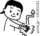 手洗い 子供 モノクロイラスト 38183281