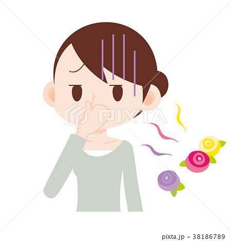 香害 鼻をつまむ女性 38186789