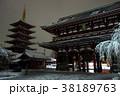 雪の夜の浅草寺五重塔と宝蔵門 38189763