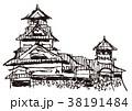 熊本城 水彩画 38191484