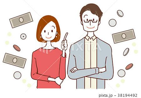 30代夫婦 お金のイメージイラスト 38194492