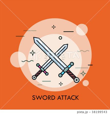 Pair of crossed or clashing swords. 38199543