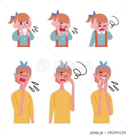 体調不良 こども 女性 イラスト 38204129