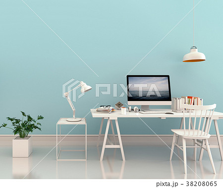 working area with Desktop computer, 3d rendering 38208065