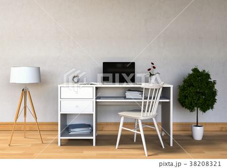 working area with Desktop computer, 3d rendering 38208321