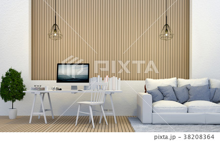 3D rendering of interior room with sofa, laptop co 38208364