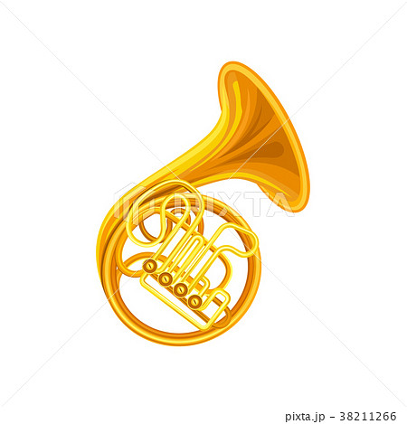 Golden french horn. Brass musical instrument with 38211266