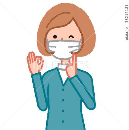 マスクを指差す女性 38212181