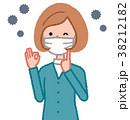 女性 マスク 装着のイラスト 38212182