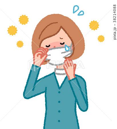 マスクをした花粉症の女性 38214088