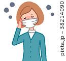 マスクをした女性とウイルス 38214090