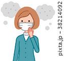 女性 マスク 微小粒子状物質のイラスト 38214092
