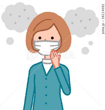 マスクをした女性と汚れた空気 38214092
