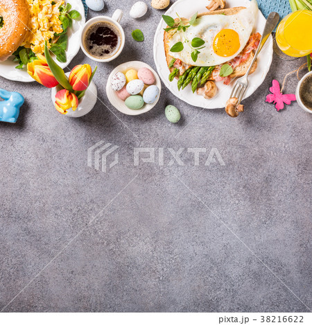 Easter holiday breakfast flat lay 38216622