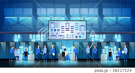 IT engineers in big data center work on new 38217524
