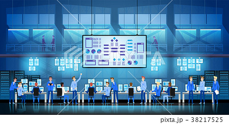 IT engineers in big data center work on new 38217525