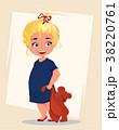 幼い 少女 クマのぬいぐるみのイラスト 38220761
