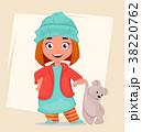 幼い 女子 クマのぬいぐるみのイラスト 38220762