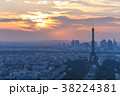 cityscape of paris in the dusk with eiffel tower 38224381