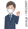 マスクをしてOKサインをする男性 38229887