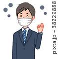 マスクをしてOKサインをする男性とウイルス 38229888