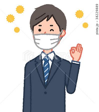 マスクをしてOKサインをする男性と花粉 38229889