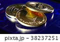 Golden bitcoins on the background of a graphic 38237251